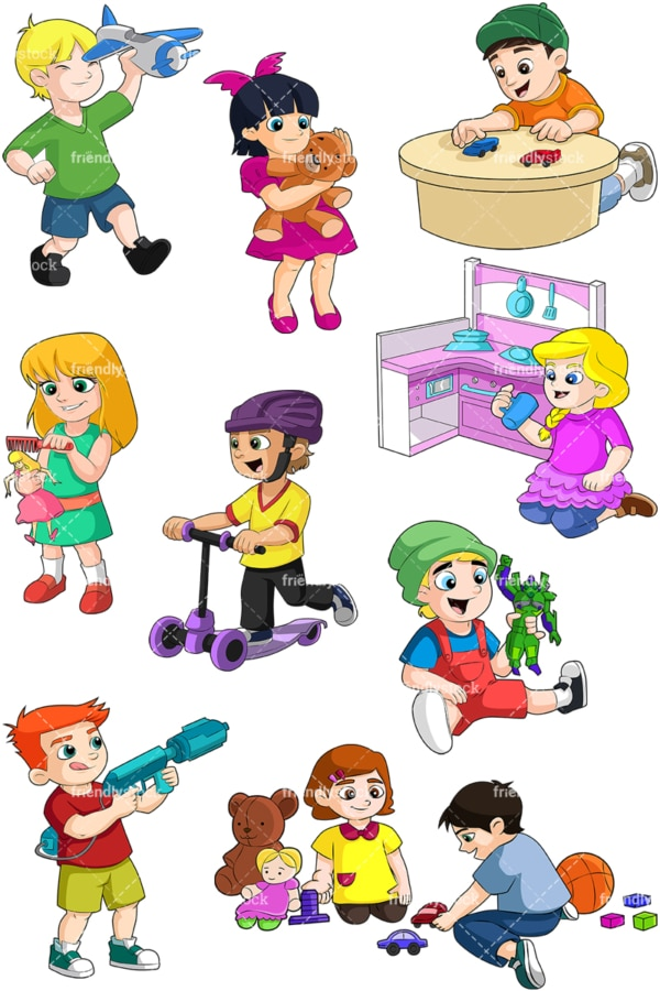 Kids playing with toys. PNG - JPG and vector EPS file formats (infinitely scalable). Image isolated on transparent background.
