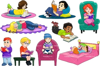 Kids reading books. PNG - JPG and vector EPS file formats (infinitely scalable). Image isolated on transparent background.