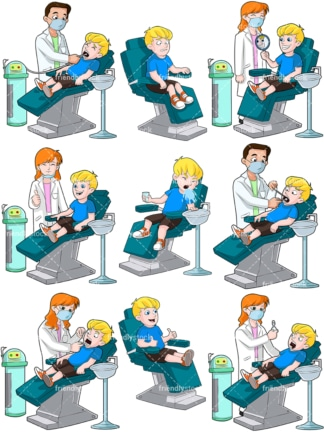 Little boy at the dentist. PNG - JPG and vector EPS file formats (infinitely scalable). Image isolated on transparent background.