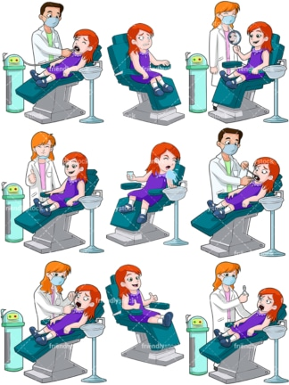 Little girl at the dentist. PNG - JPG and vector EPS file formats (infinitely scalable). Image isolated on transparent background.