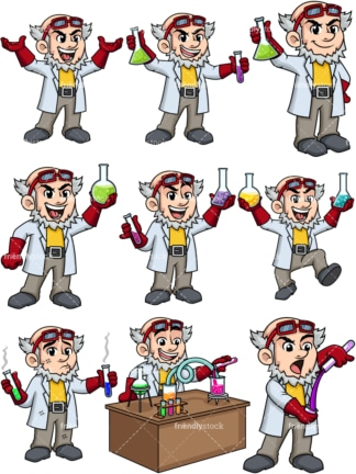 Mad scientist. PNG - JPG and vector EPS file formats (infinitely scalable). Image isolated on transparent background.