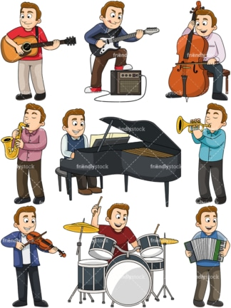Man playing musical instruments. PNG - JPG and vector EPS file formats (infinitely scalable). Images isolated on transparent background.