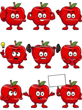 Mascot apple cartoon character. PNG - JPG and vector EPS file formats (infinitely scalable). Image isolated on transparent background.