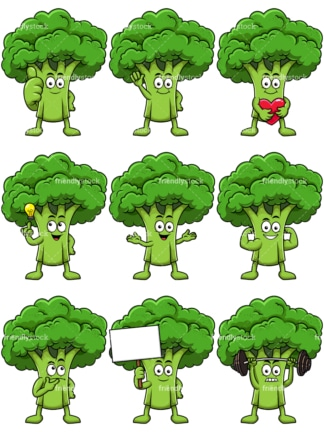 Mascot broccoli cartoon character. PNG - JPG and vector EPS file formats (infinitely scalable). Image isolated on transparent background.
