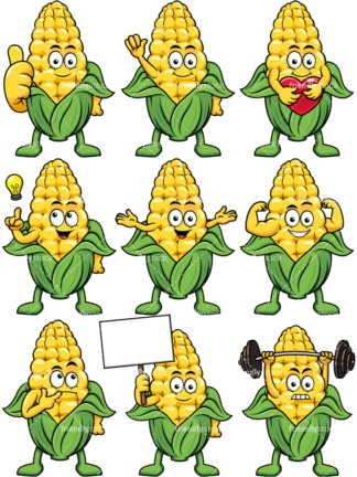 Mascot maize cartoon character. PNG - JPG and vector EPS file formats (infinitely scalable). Image isolated on transparent background.