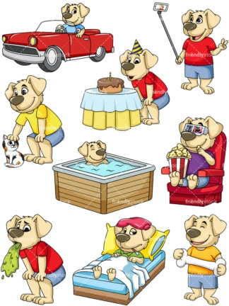 Dog character conceptual poses. PNG - JPG and vector EPS file formats (infinitely scalable). Image isolated on transparent background.