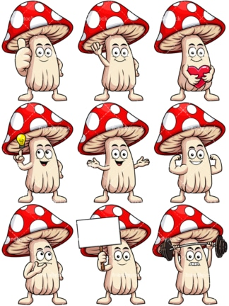 Mascot mushroom cartoon character. PNG - JPG and vector EPS file formats (infinitely scalable). Image isolated on transparent background.