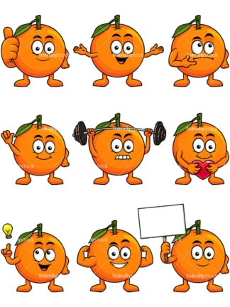 Mascot orange cartoon character. PNG - JPG and vector EPS file formats (infinitely scalable). Image isolated on transparent background.