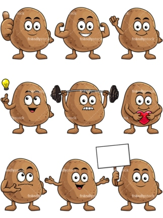 Mascot potato cartoon character. PNG - JPG and vector EPS file formats (infinitely scalable). Image isolated on transparent background.