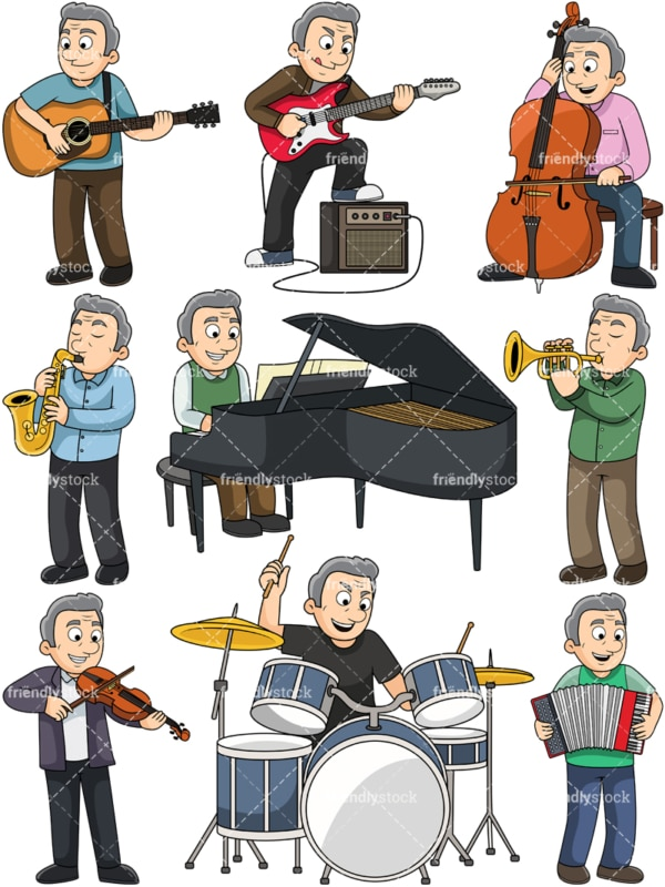 Old man playing musical instruments. PNG - JPG and vector EPS file formats (infinitely scalable). Images isolated on transparent background.