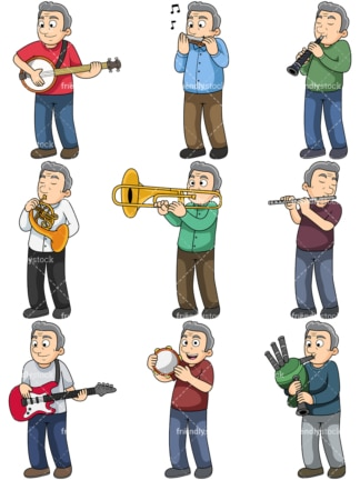 Old man plays musical instruments. PNG - JPG and vector EPS file formats (infinitely scalable). Images isolated on transparent background.