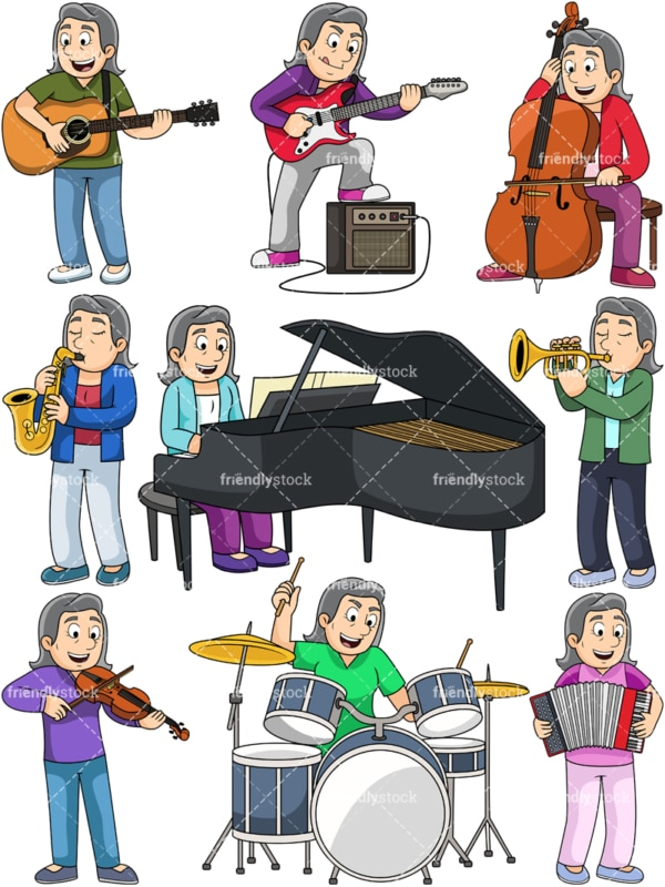 Old woman playing musical instruments. PNG - JPG and vector EPS file formats (infinitely scalable). Images isolated on transparent background.