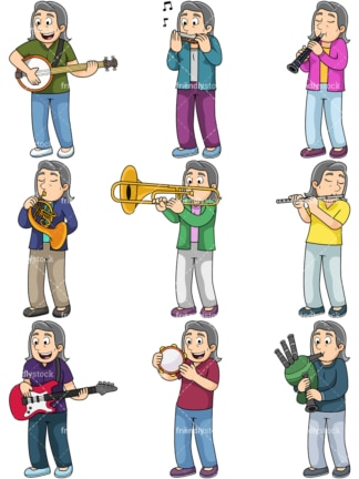 Old woman plays musical instruments. PNG - JPG and vector EPS file formats (infinitely scalable). Images isolated on transparent background.
