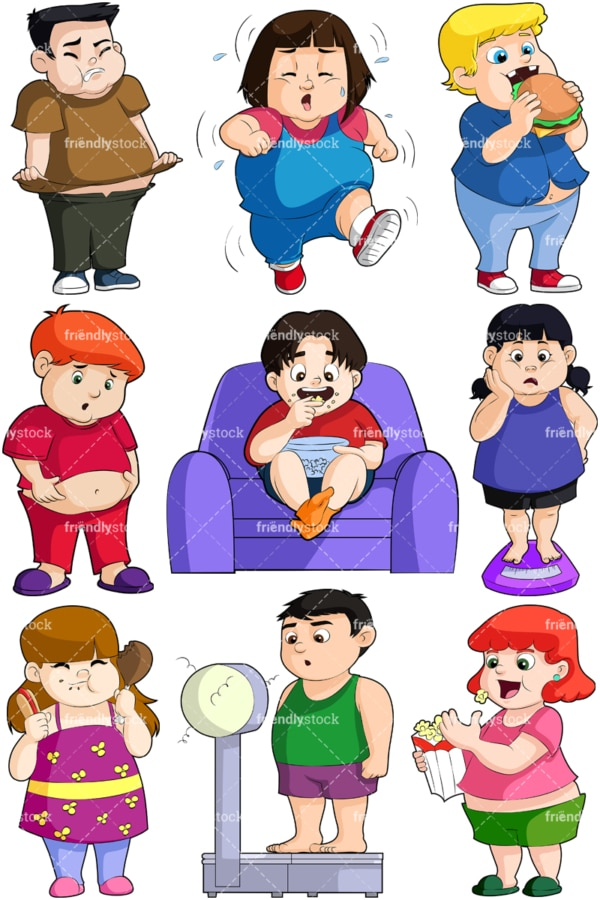 Overweight kids. PNG - JPG and vector EPS file formats (infinitely scalable). Images isolated on transparent background.
