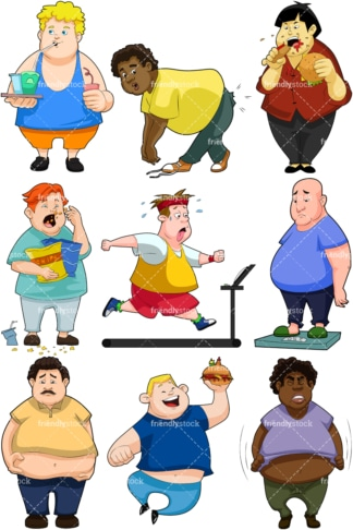 Fat men collection. PNG - JPG and vector EPS file formats (infinitely scalable). Image isolated on transparent background.
