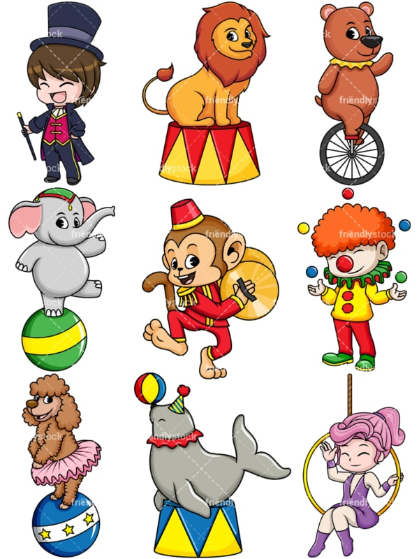 People and circus animals. PNG - JPG and vector EPS file formats (infinitely scalable). Image isolated on transparent background.