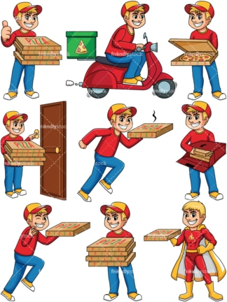 Pizza delivery boy. PNG - JPG and vector EPS file formats (infinitely scalable). Image isolated on transparent background.