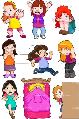 Scared little girls. PNG - JPG and vector EPS file formats (infinitely scalable). Image isolated on transparent background.