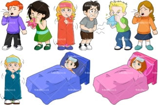 Sick kids. PNG - JPG and vector EPS file formats (infinitely scalable). Image isolated on transparent background.