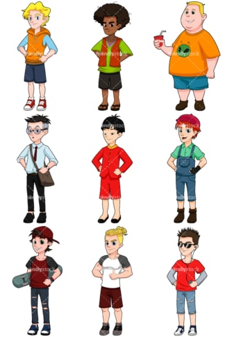 Young men collection. PNG - JPG and vector EPS file formats (infinitely scalable). Image isolated on transparent background.