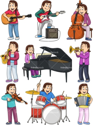 Woman playing musical instruments. PNG - JPG and vector EPS file formats (infinitely scalable). Images isolated on transparent background.