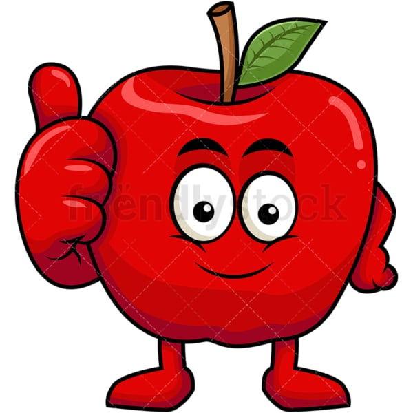 Apple cartoon character thumbs up. PNG - JPG and vector EPS (infinitely scalable). Image isolated on transparent background.