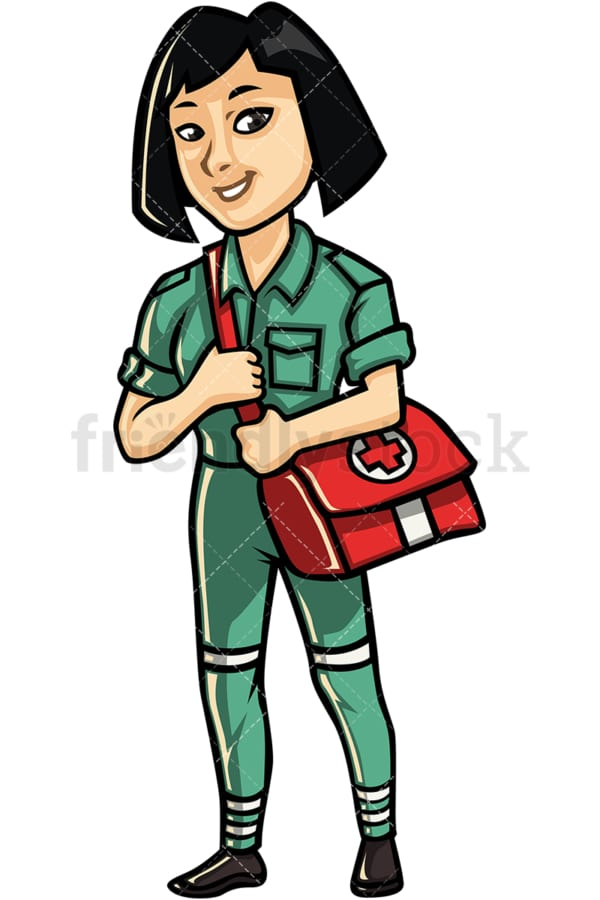 Asian female paramedic. PNG - JPG and vector EPS file formats (infinitely scalable). Image isolated on transparent background.