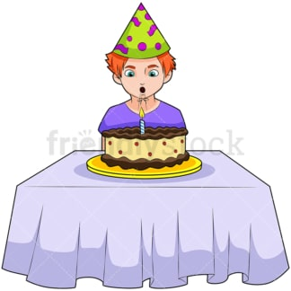 Birthday boy blowing out candles. PNG - JPG and vector EPS (infinitely scalable). Image isolated on transparent background.