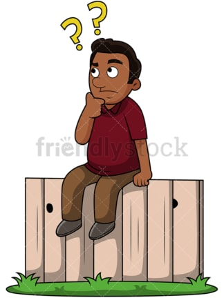 Black guy on the fence. PNG - JPG and vector EPS file formats (infinitely scalable). Image isolated on transparent background.