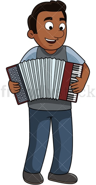 Black guy playing accordion. PNG - JPG and vector EPS file formats (infinitely scalable). Image isolated on transparent background.