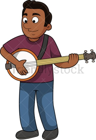 Black guy playing the banjo. PNG - JPG and vector EPS file formats (infinitely scalable). Image isolated on transparent background.