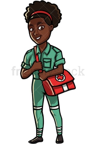 African American woman paramedic. PNG - JPG and vector EPS file formats (infinitely scalable). Image isolated on transparent background.