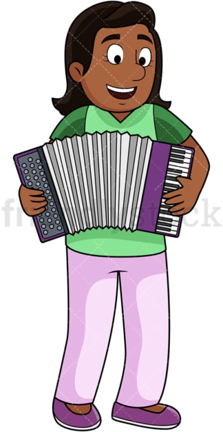 Black woman playing accordion. PNG - JPG and vector EPS file formats (infinitely scalable). Image isolated on transparent background.
