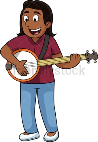 Black woman playing banjo. PNG - JPG and vector EPS file formats (infinitely scalable). Image isolated on transparent background.