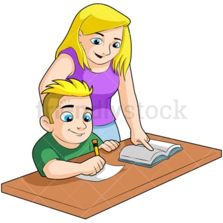 Boy doing homework with mom. PNG - JPG and vector EPS (infinitely scalable). Image isolated on transparent background.