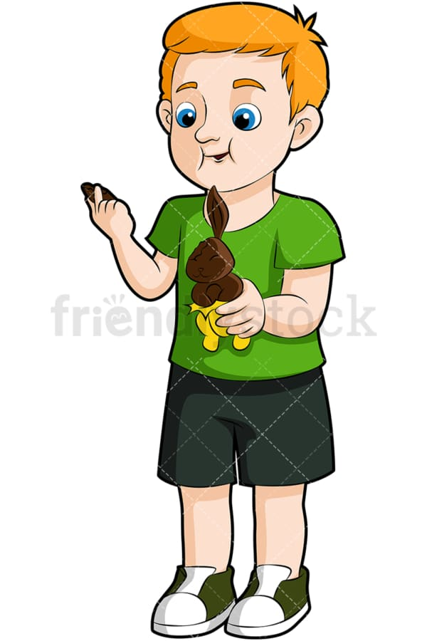 Boy eating chocolate bunny. PNG - JPG and vector EPS (infinitely scalable). Image isolated on transparent background.
