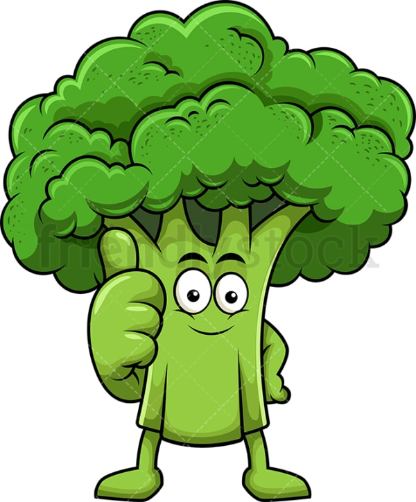 Broccoli cartoon character thumbs up. PNG - JPG and vector EPS (infinitely scalable). Image isolated on transparent background.