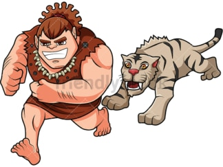 Caveman getting chased by Smilodon. PNG - JPG and vector EPS (infinitely scalable). Image isolated on transparent background.