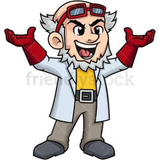 Cheering crazy scientist. PNG - JPG and vector EPS (infinitely scalable). Image isolated on transparent background.
