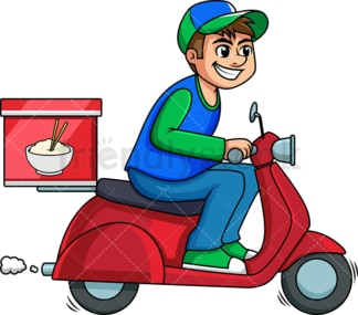 Chinese food delivery man on scooter. PNG - JPG and vector EPS (infinitely scalable). Image isolated on transparent background.