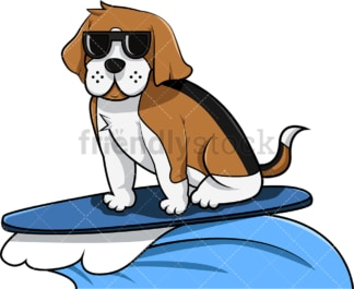 Cool beagle dog surfing. PNG - JPG and vector EPS (infinitely scalable). Image isolated on transparent background.