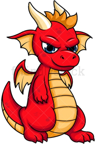 Cool red dragon. PNG - JPG and vector EPS (infinitely scalable). Image isolated on transparent background.