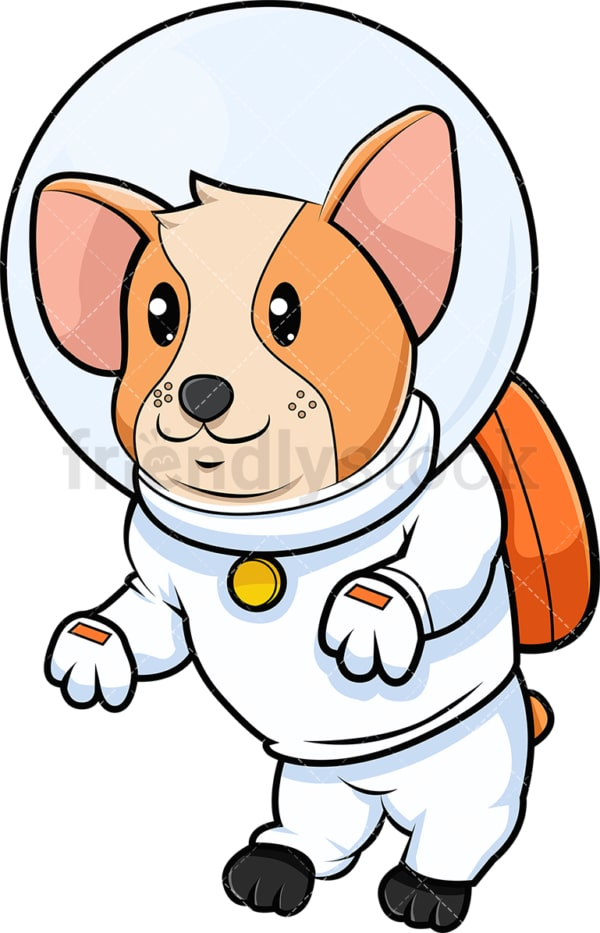 Corgi dog in space suit. PNG - JPG and vector EPS (infinitely scalable). Image isolated on transparent background.