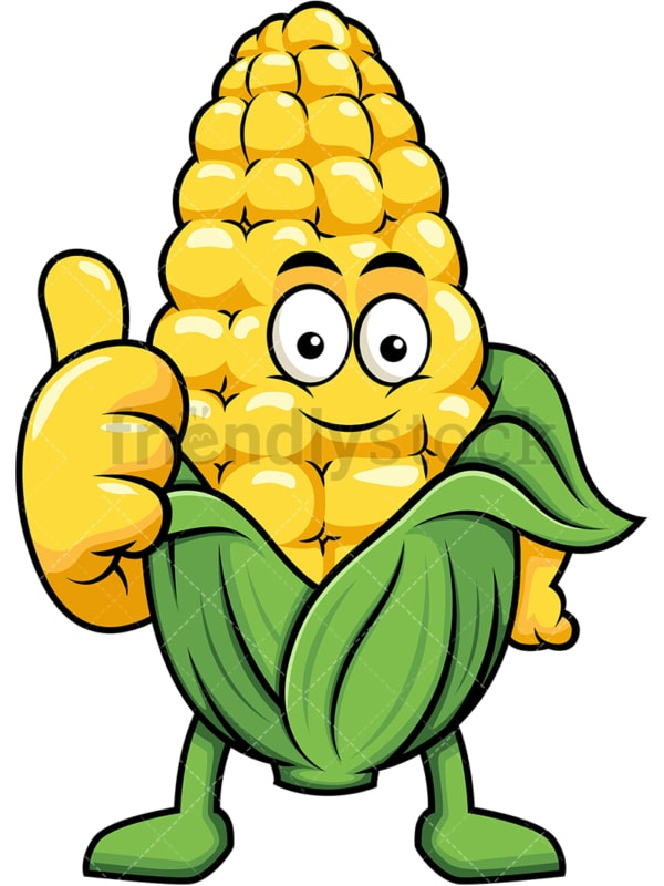 Maize cartoon character thumbs up. PNG - JPG and vector EPS (infinitely scalable). Image isolated on transparent background.