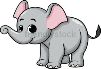 Adorable baby elephant. PNG - JPG and vector EPS (infinitely scalable). Image isolated on transparent background.