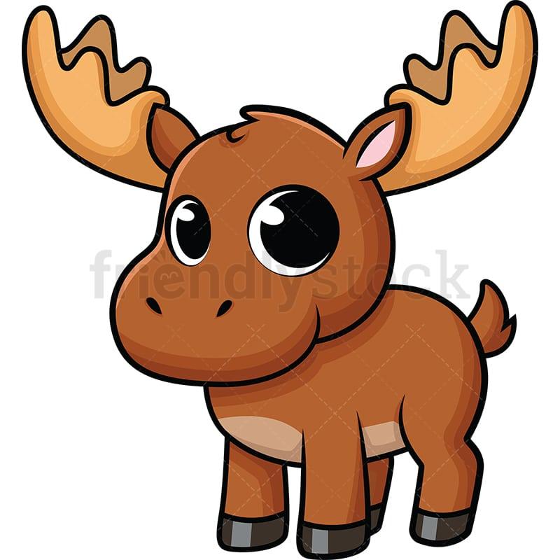 Cute Baby Moose Cartoo...