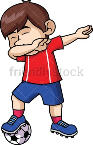 Soccer boy doing the dab. PNG - JPG and vector EPS file formats (infinitely scalable). Image isolated on transparent background.