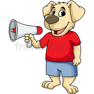 Dog cartoon character holding megaphone. PNG - JPG and vector EPS (infinitely scalable). Image isolated on transparent background.