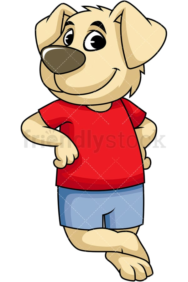 Dog cartoon character leaning on something. PNG - JPG and vector EPS (infinitely scalable). Image isolated on transparent background.