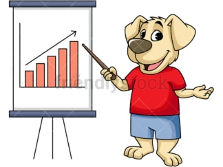 Dog cartoon character pointing το growth chart. PNG - JPG and vector EPS (infinitely scalable). Image isolated on transparent background.